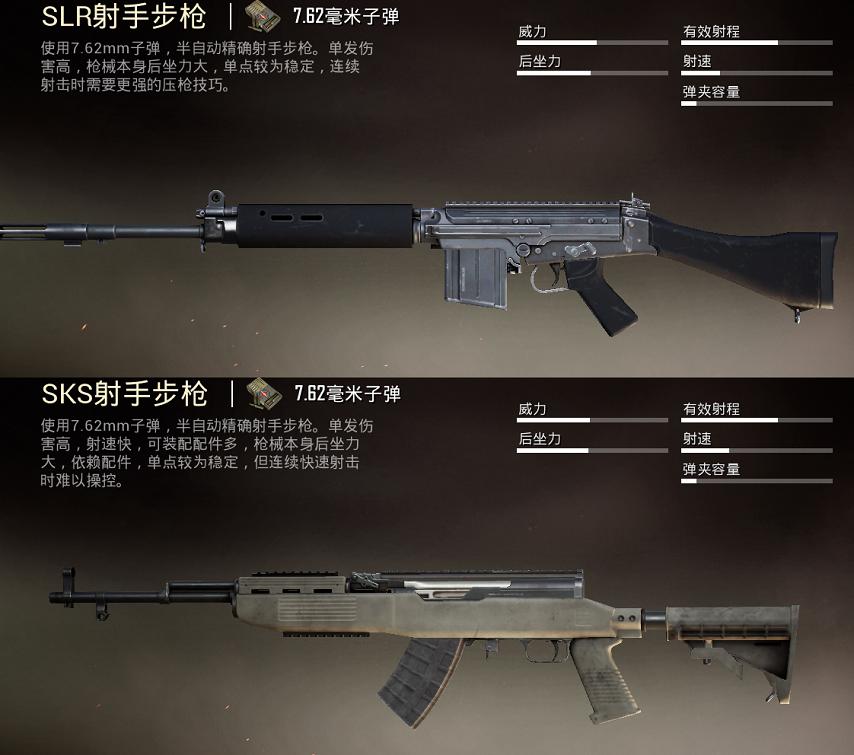 《和平精英》7.62MM射手步枪选这把之SLR与SKS对比